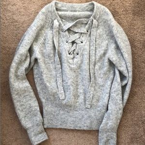 H&M Grey Wool Premium Lace Up Sweater - Small